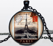 "Handcrafted OLD PARIS STAMP PENDANT NECKLACE Jewelry.Black pendant diameter is 30 mm and comes with a black 24"" necklace chain. Box included."