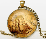 "Handcrafted NAUTICAL PENDANT NECKLACE Jewelry. Bronze pendant diameter is 30 mm, bronze necklace chain is 24"". Box included."